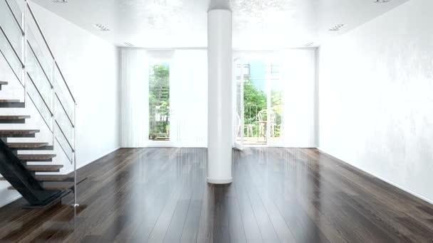 3D video animace moderního podkroví s velkým oknem-světlý obývací pokoj s velkým pohovkou a schodištěm