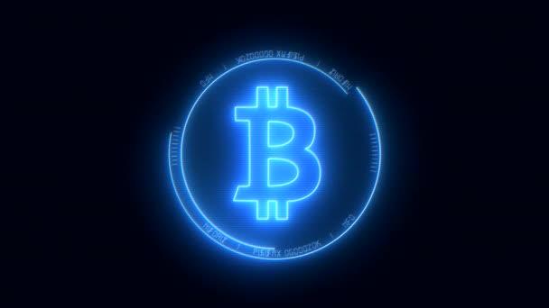 Video animace loga Bitpeníz s modrou barvou s efektem se škubnutí-Digitální měna-kryptoměna