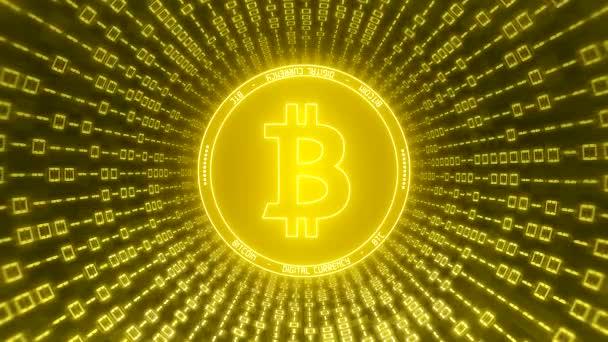 Video animace loga Bitpeníz ve zlatě s tunelem binárního kódu-digitální měna-kryptoměna