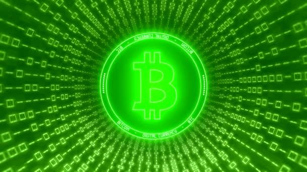 Video animace loga Bitmince v zelené s tunelem binárního kódu-digitální měna-kryptoměna