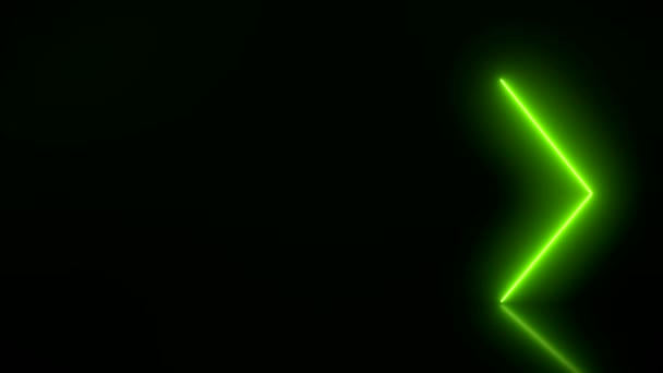 Video animation of glowing neon arrows in green  on reflecting floor. - Abstract background - laser show