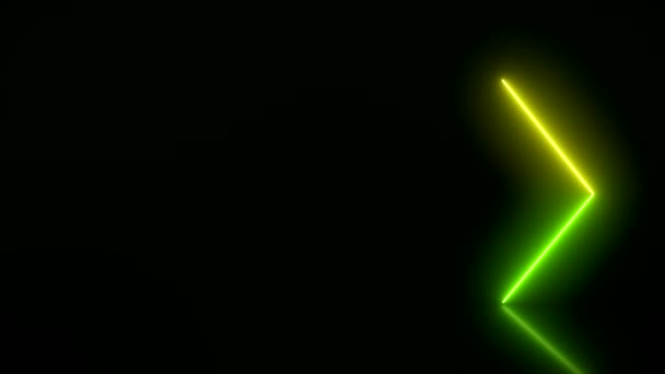 Video animation of glowing neon arrows in green and yellow on reflecting floor. - Abstract background - laser show