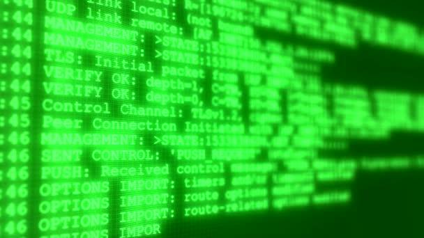 Videoanimation eines Monitorbildschirms mit einer vpn-Logmeldung - abstrakter Hintergrund