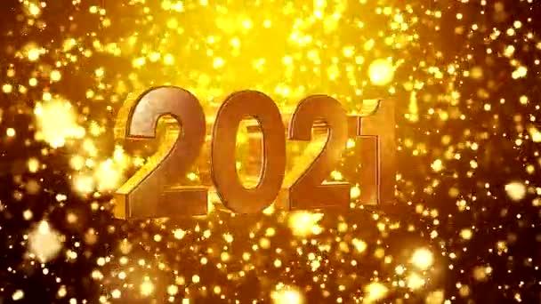 Videoanimation von weihnachtlichem Goldlichtschein Partikel Bokeh über goldenem Hintergrund und die Zahlen 2021 - repräsentiert das neue Jahr - Urlaubskonzept
