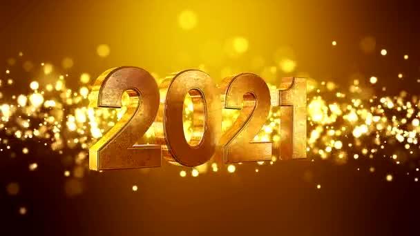 Video animace vánoční zlaté světlo svítí částice bokeh nad zlatým pozadím a čísla 2021 - představuje nový rok - dovolená koncept