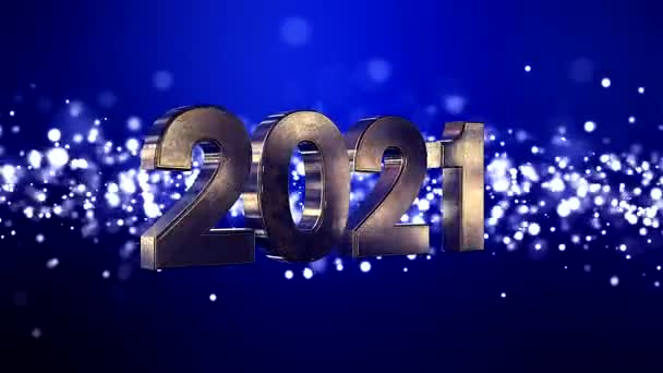 Video animation of christmas golden light shine particles bokeh over blue background and the numbers 2021 - represents the new year - vacation concept
