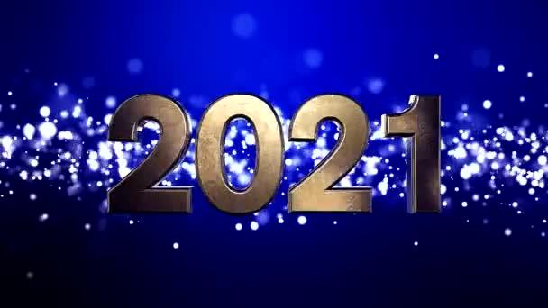Videó animáció karácsony arany fény részecskék bokeh kék háttér és a számok 2021 - képviseli az új évet - nyaralás koncepció