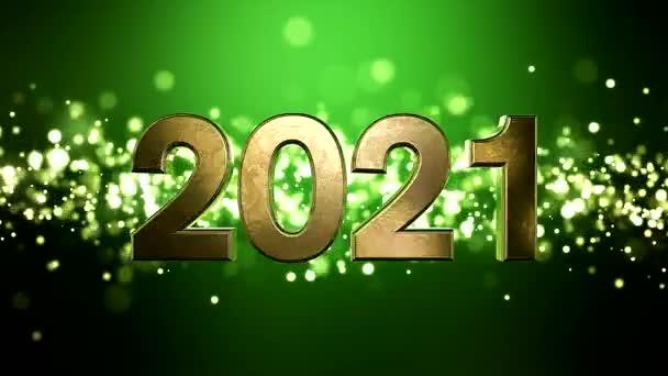Videó animáció karácsony arany fény részecskék bokeh zöld háttér és a számok 2021 - képviseli az új évet - nyaralás koncepció