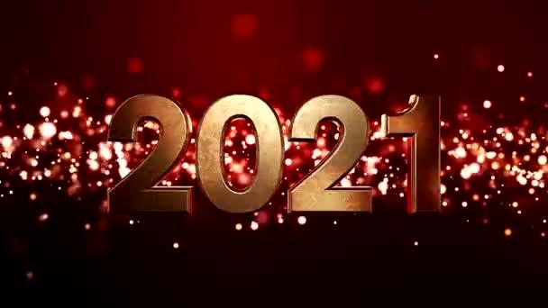 Videó animáció karácsony arany fény részecskék bokeh felett piros háttér és a számok 2021 - képviseli az új évet - nyaralás koncepció