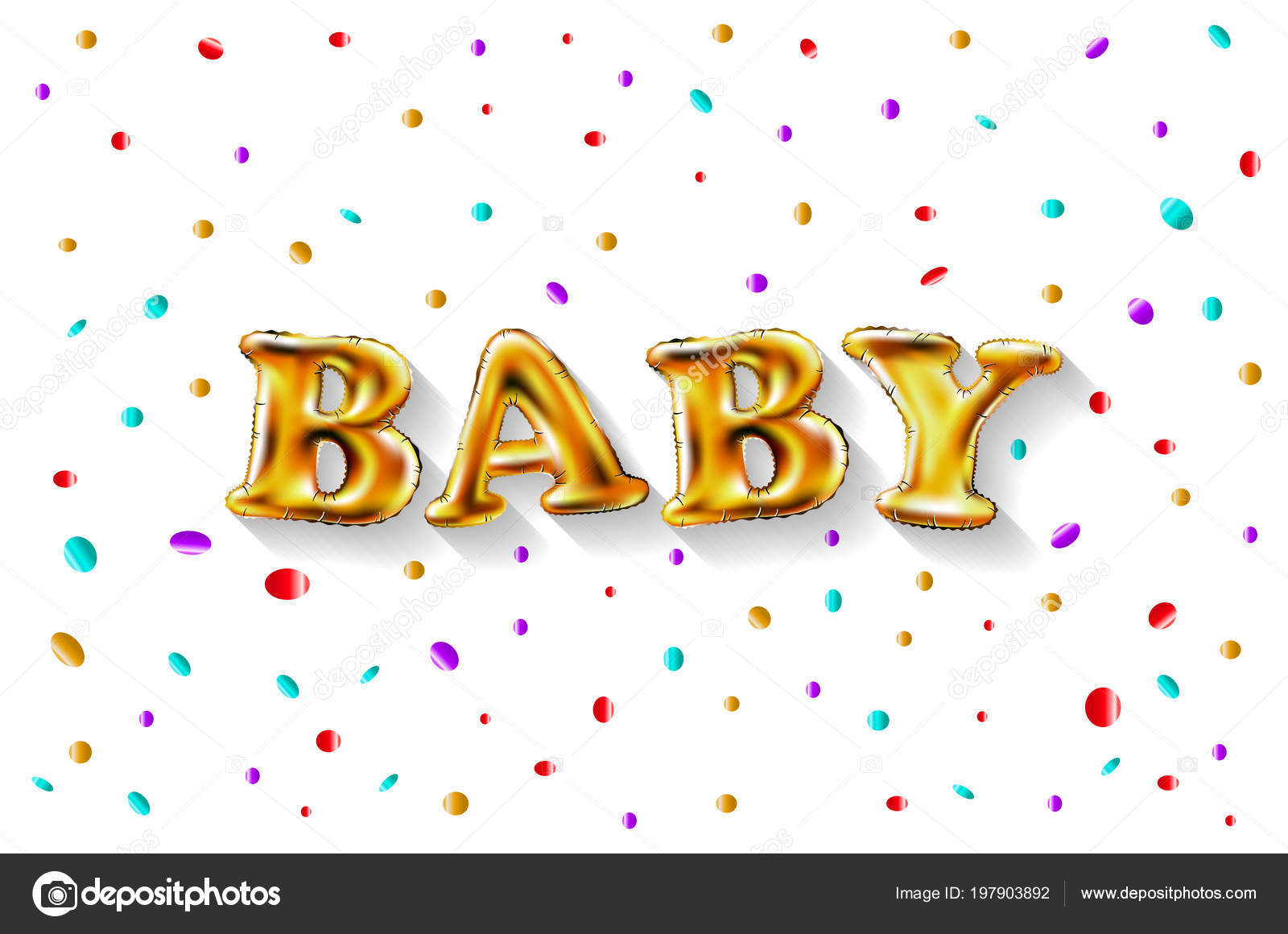 Gold Letter Baby Balloons Birthday Characters For Celebration Party Date Invitation Event Card Happy