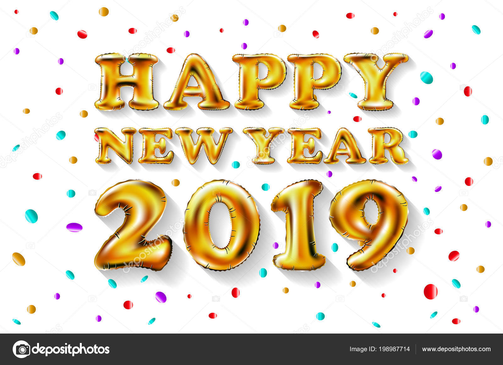 metallic gold letter balloons 2019 happy new year golden number balloons ball air filled decoration celebration congratulation vector art vector by