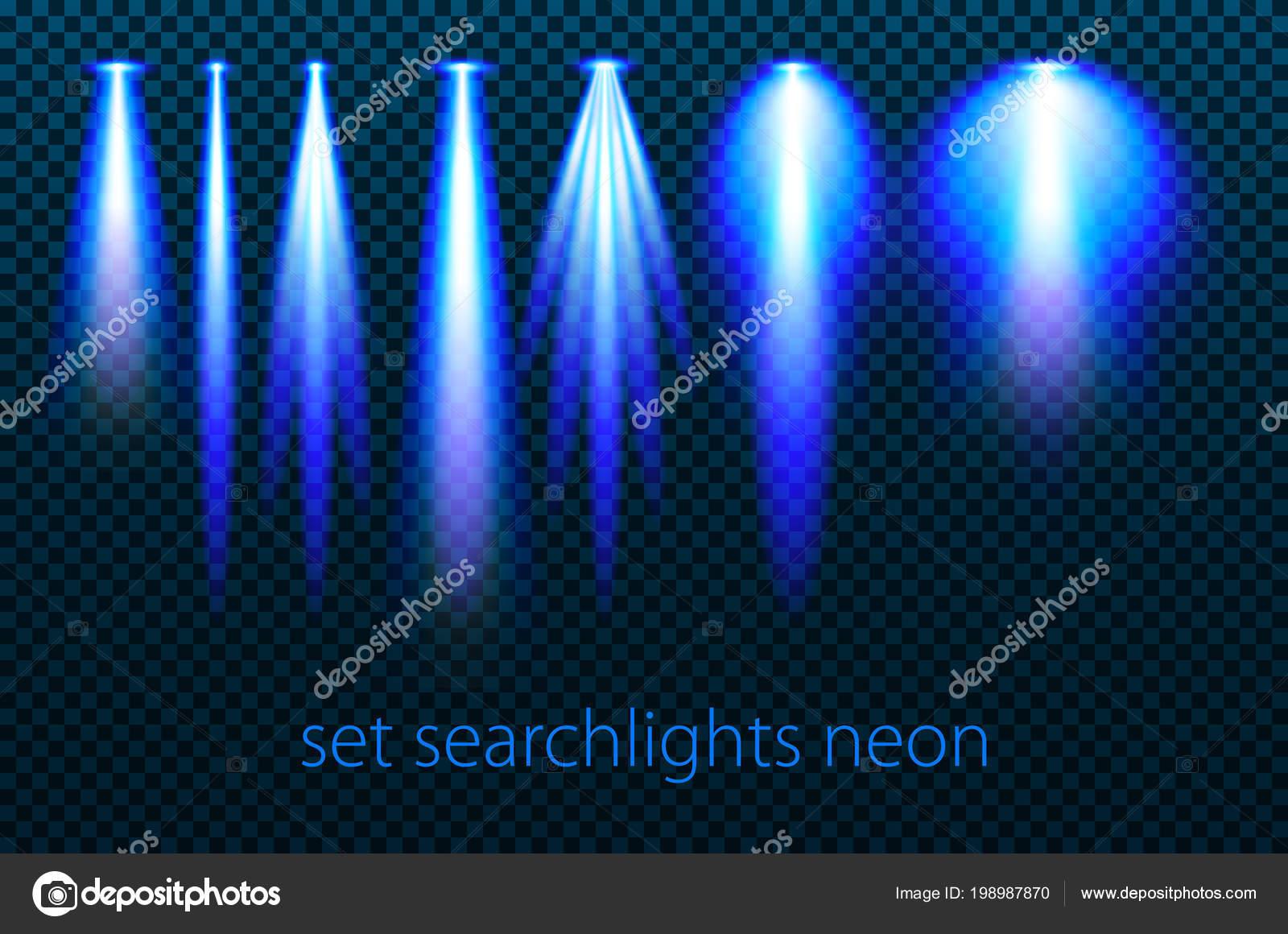 Set proiettori neon uno sfondo trasparente ampia illuminazione con