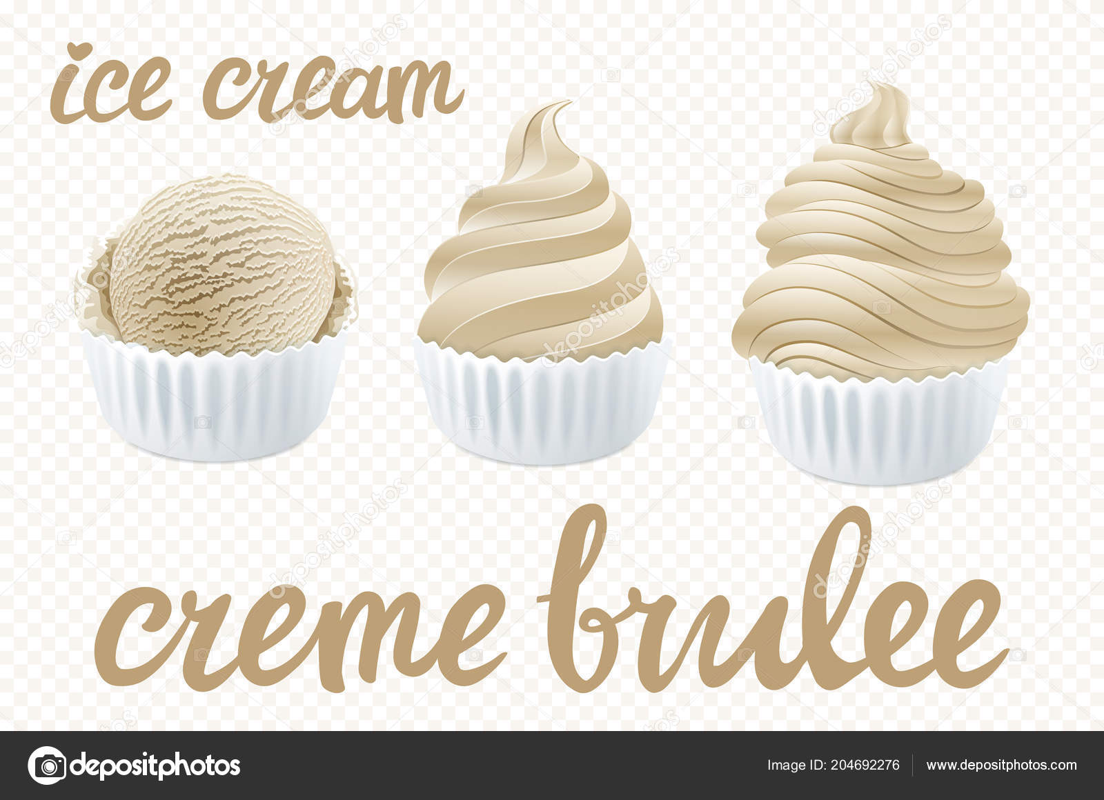 Gut Vector Beige Set Ice Cream Scoops Poster Design Creme Brulee U2014 Vetor De  Stock