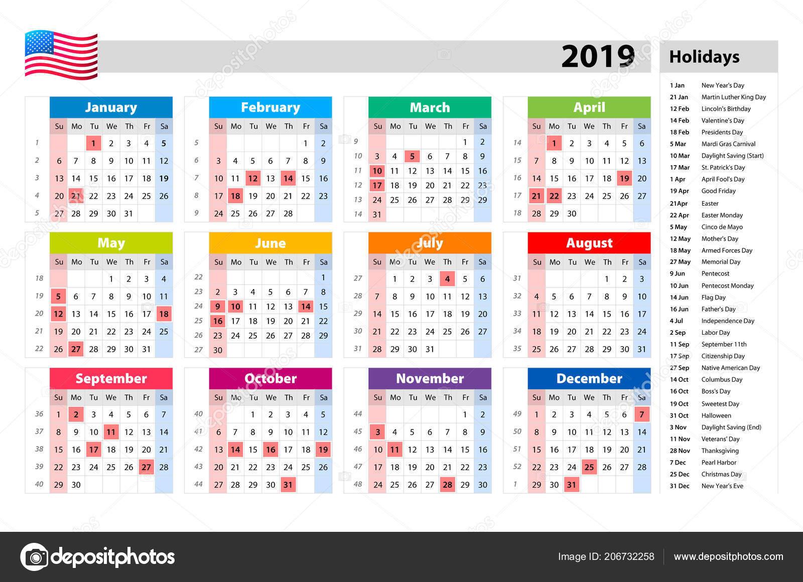 Vector Festivos Para 2019 Calendario Estados Unidos ...