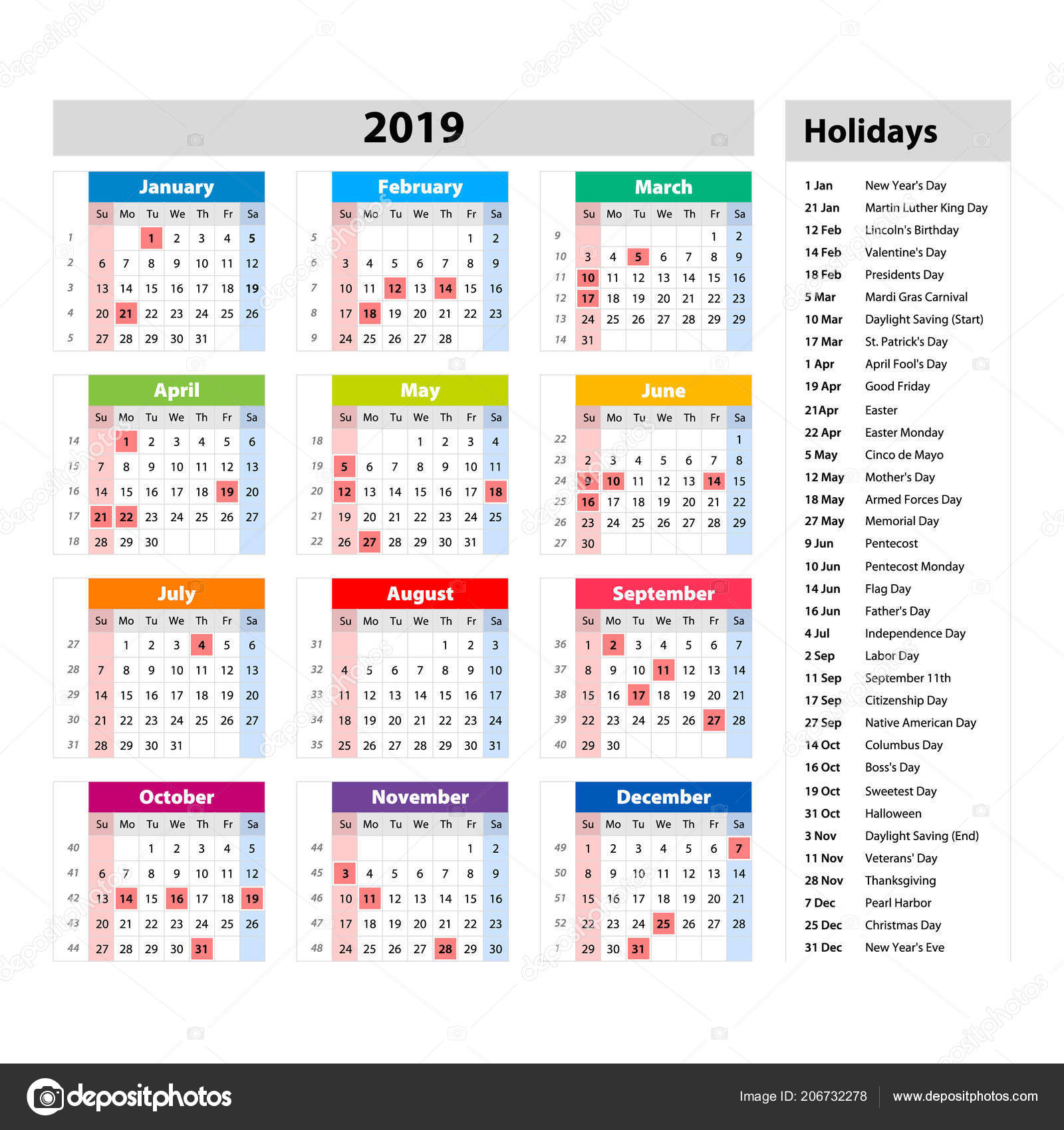Vector Public Holidays Usa Calendar 2019 Colorful Set Week Starts