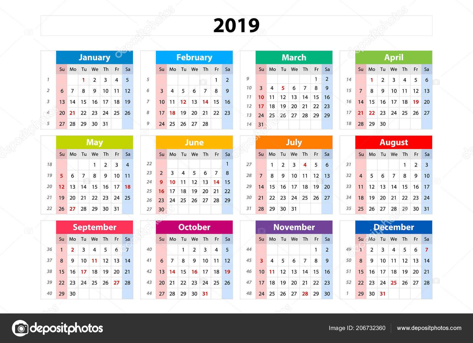 Calendario 2019 Con Numero Week.Vector Calendar 2019 Week Starts Sunday Business Template