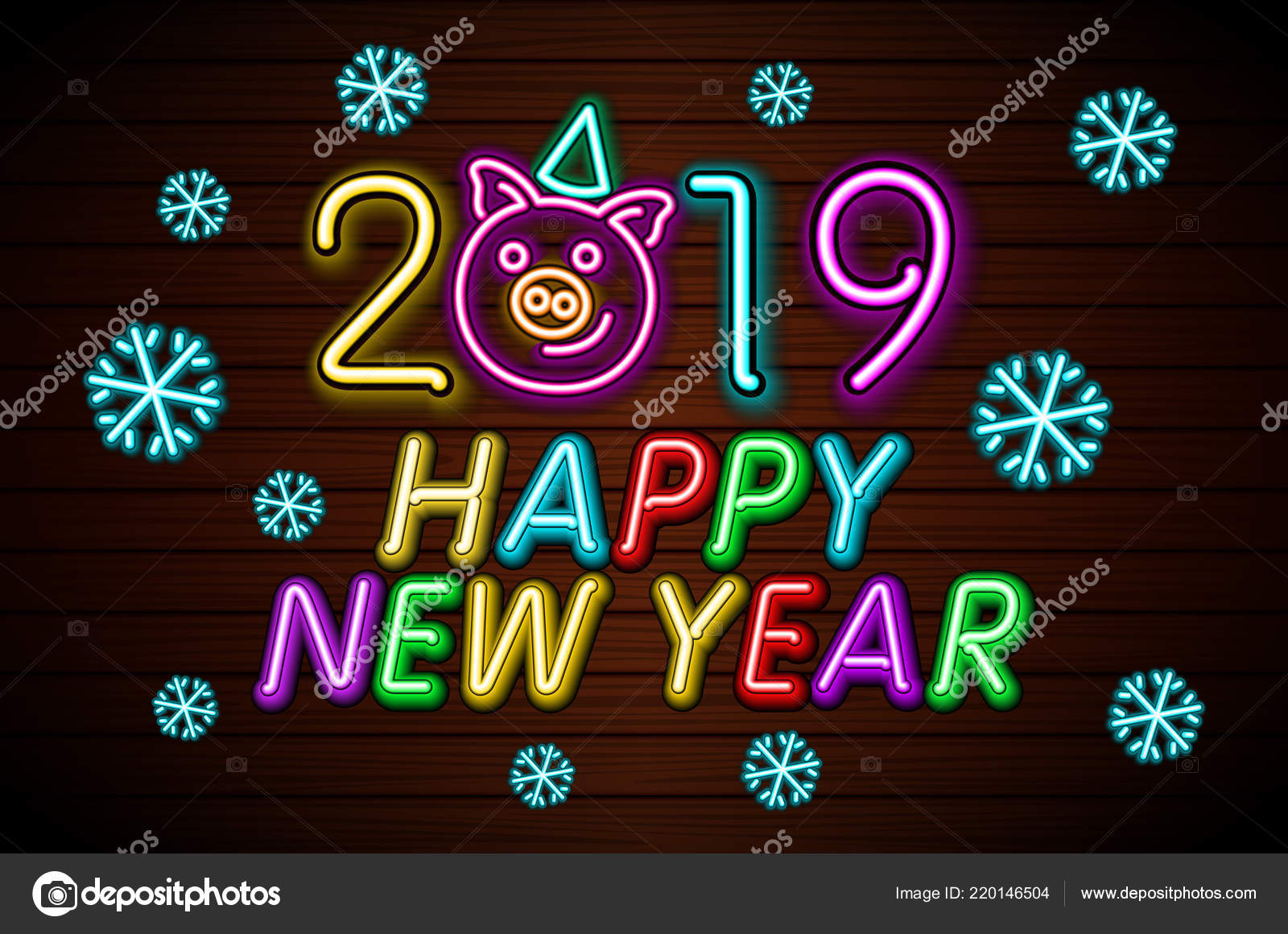 happy new year 2019 design template vector pig greeting card stock vector