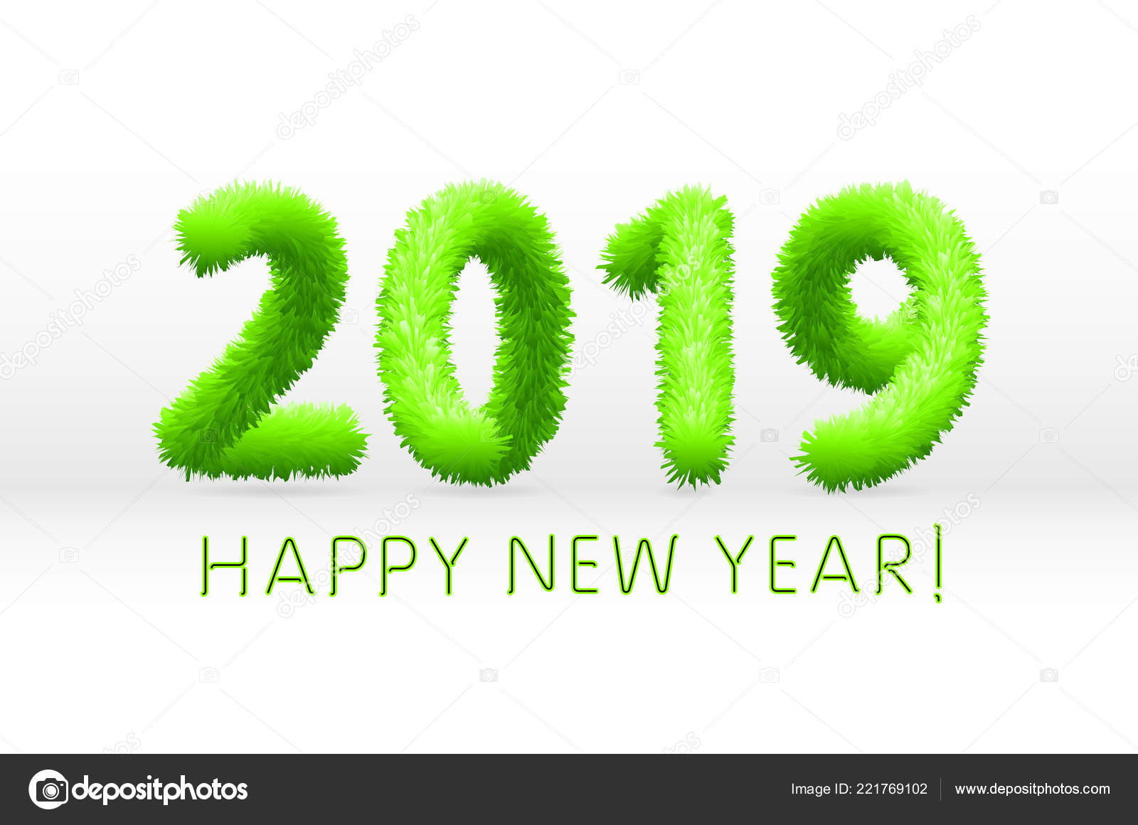 wooly green hairy shaggy wool 2019 happy new year white background vector illustration vector by romanchikruslangmailcom