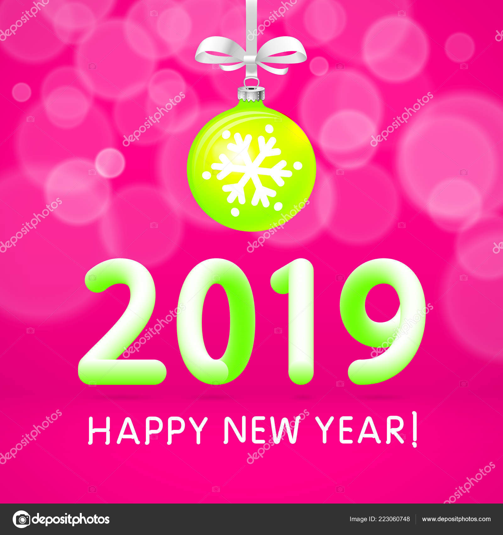 green christmas ball 2019 happy new year vector template festive stock vector