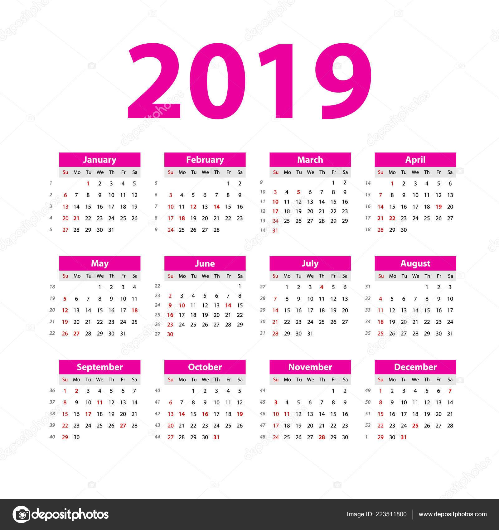 Calendario 2019 Rosa Portugues.Vector Calendario 2019 Color Rosa Semana Comienza Domingo