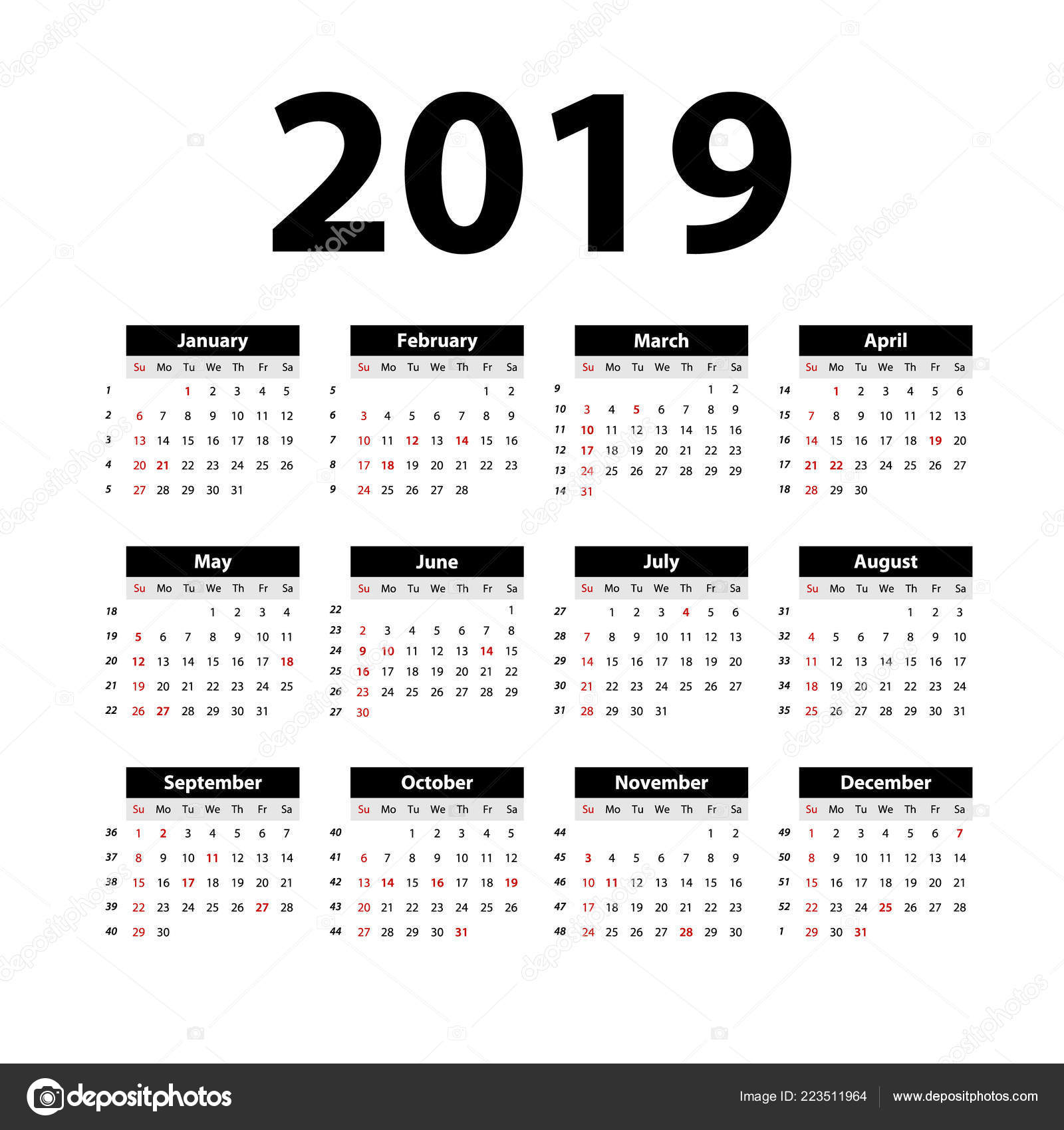 Semaine 34 Calendrier 2019.Vector Calendrier 2019 Noir Semaine Commence Dimanche