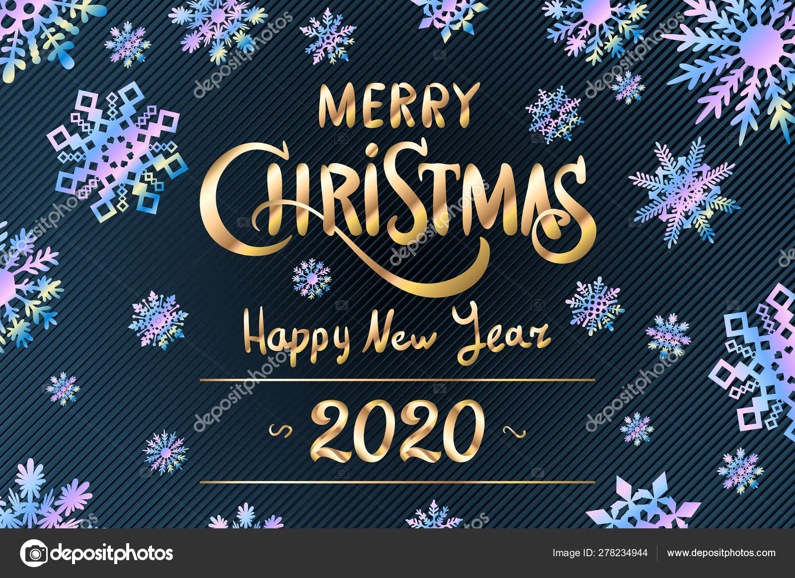 Merry Christmas And Happy New Year 2020 Lettering Template Greeting Card Invitation With Blue Snowflakes Winter Holidays Related Typographic Quote Vector Vintage Illustration Stock Vector C Romanchik Ruslan Gmail Com 278234944