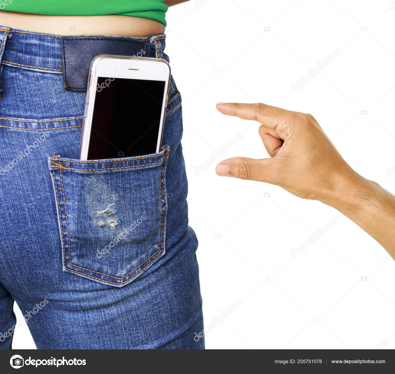 scarpe di separazione ffeef 7095a Thief Hand Trying Stole Mobile Phone Woman Pocket Jeans ...
