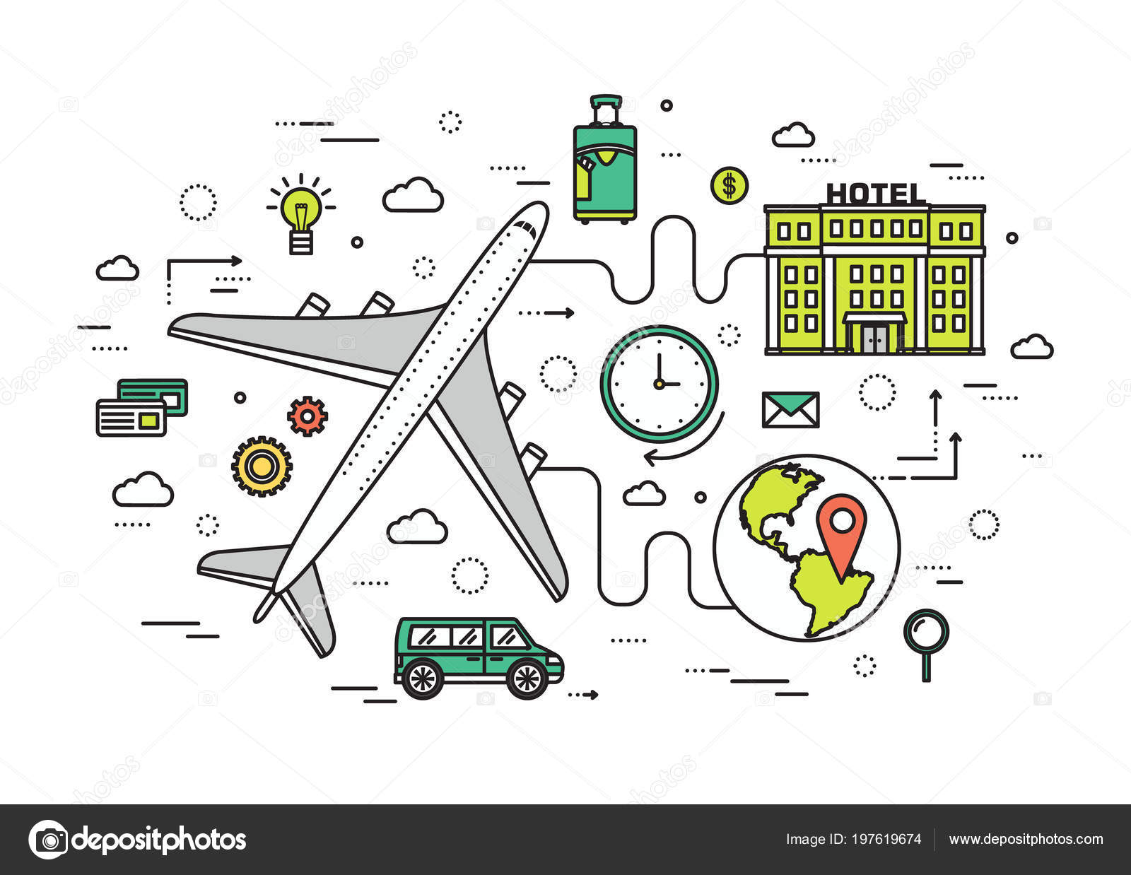 Modern Plane Diagram Trusted Wiring Diagrams Parts Of A Thin Line Travel Vacation Illustration Concept Infographic Names