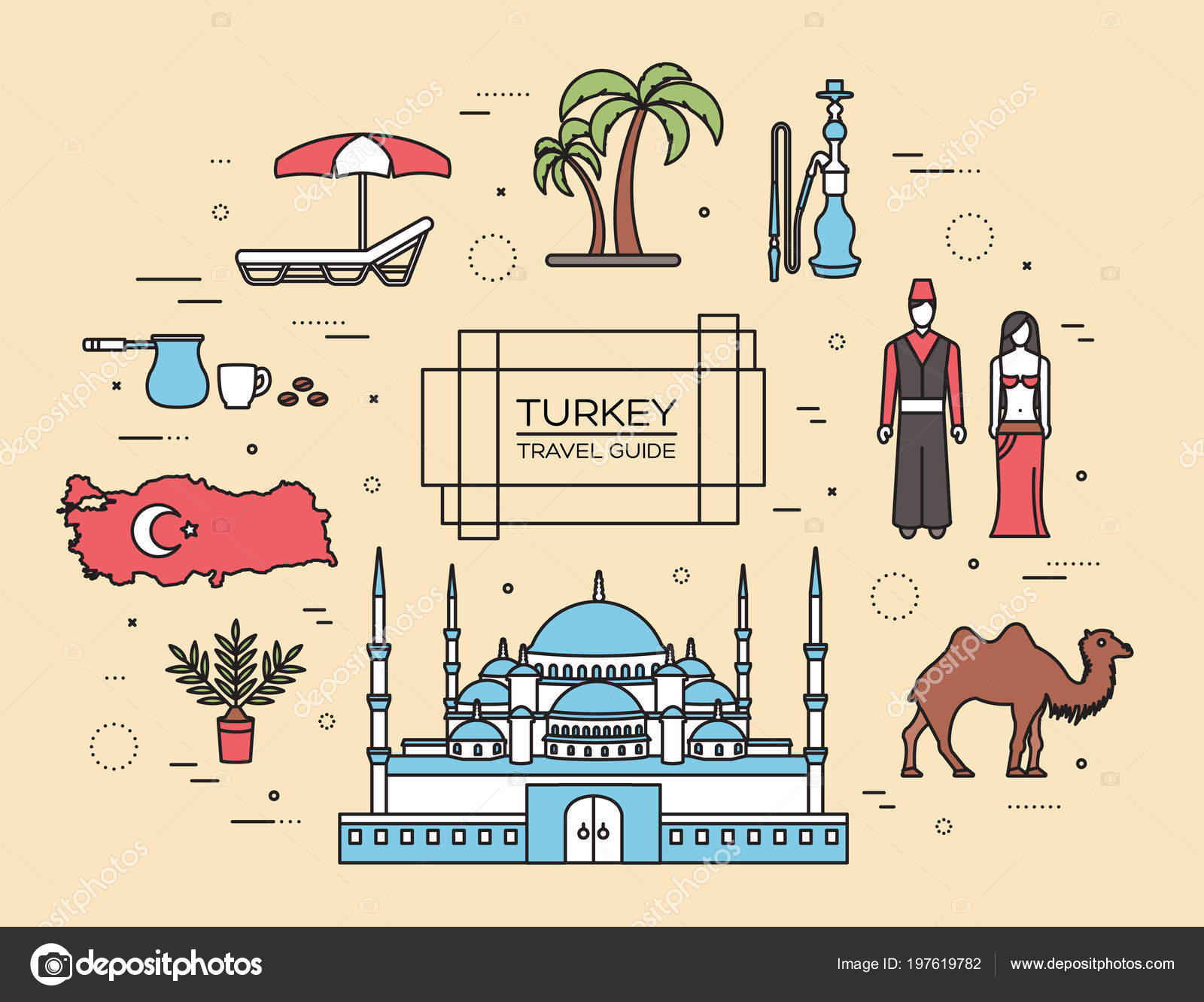 country turkey travel of goods places and features in thin lines
