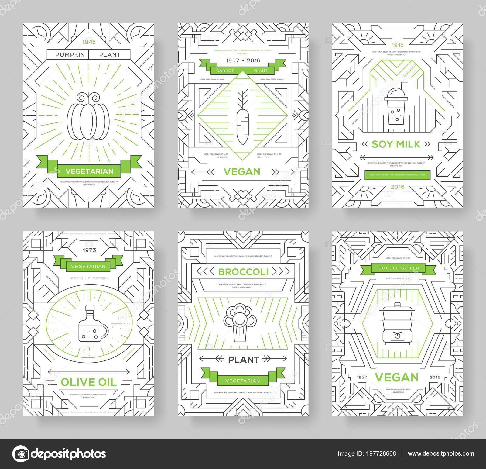 Vegan vector brochure tarjetas configuradas. Plantilla de vegetales ...