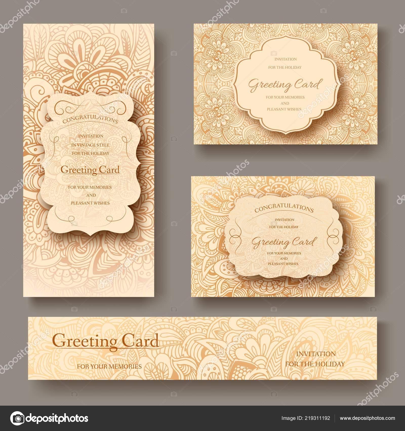 Set Of Wedding Card Flyer Pages Ornament Illustration