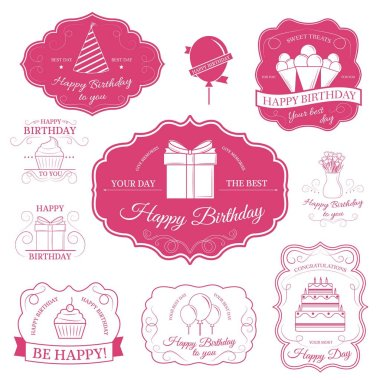 Happy birthday set label template of emblem element for your product or design, web and mobile applications with text. Vector illustration with thin lines isolated icons on stamp symbol