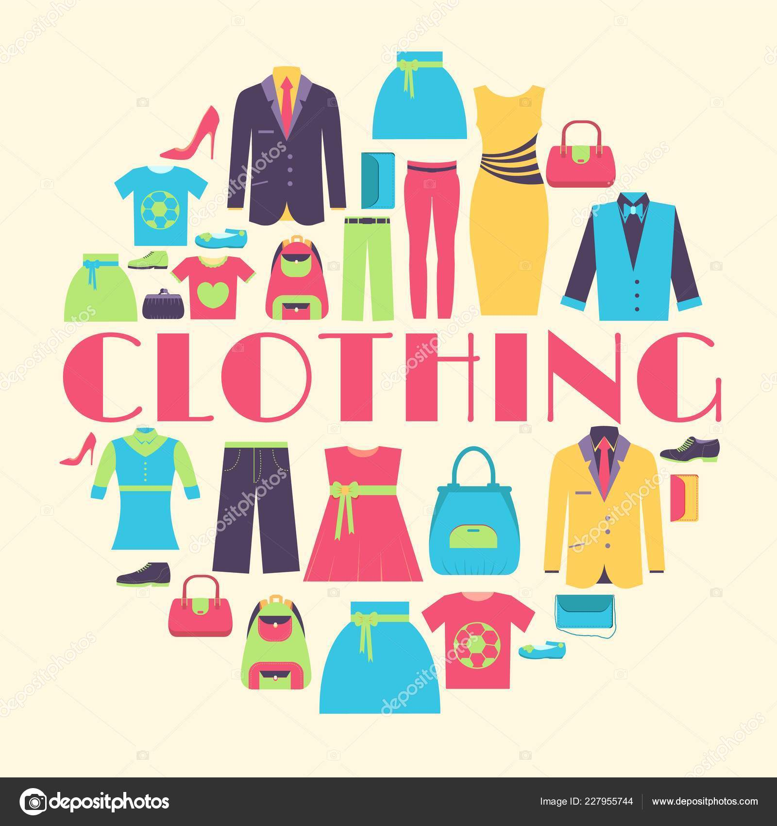 Collection Style Fashion Clothing For People Icon Set Background Concept Vector Template For Web And Mobile Design Stock Vector C Chocostar 227955744