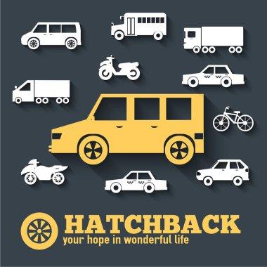 Flat hatchback car concept set icon backgrounds illustration design. Tamplate for web and mobile.