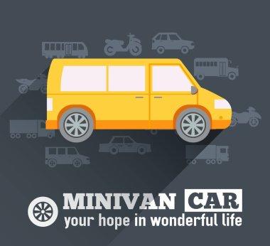 Flat minivan car background illustration concept. Tamplate for web and mobile design