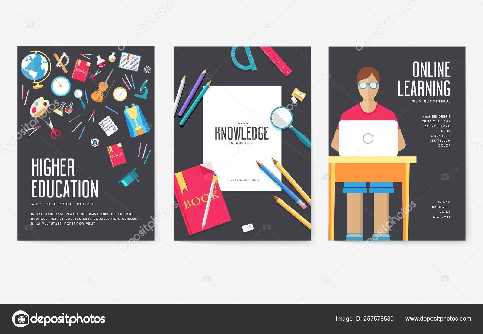Back To School Information Cards Set Student Template Of Flyear Magazines Posters Book Cover Banners College Education Infographic Concept Background Layout Illustrations Modern Pages Stock Vector C Chocostar 257578530