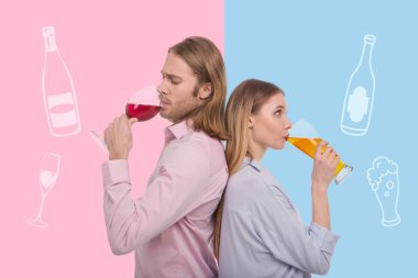 Thoughtful couple drinking alcohol while standing back to back