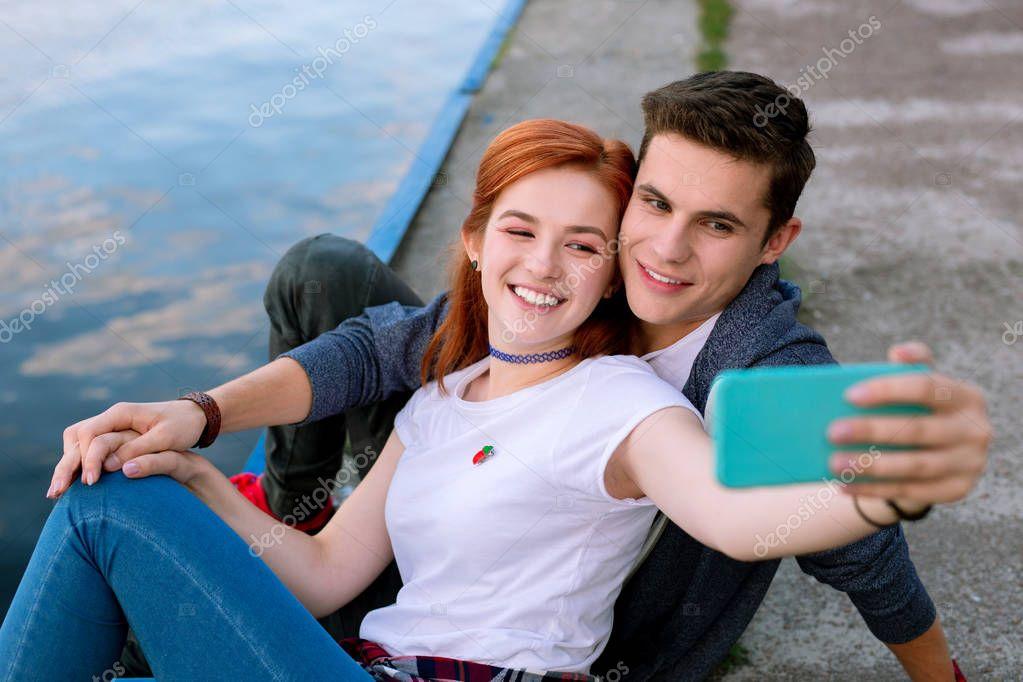 a Joyful nice couple smiling Romantic date.