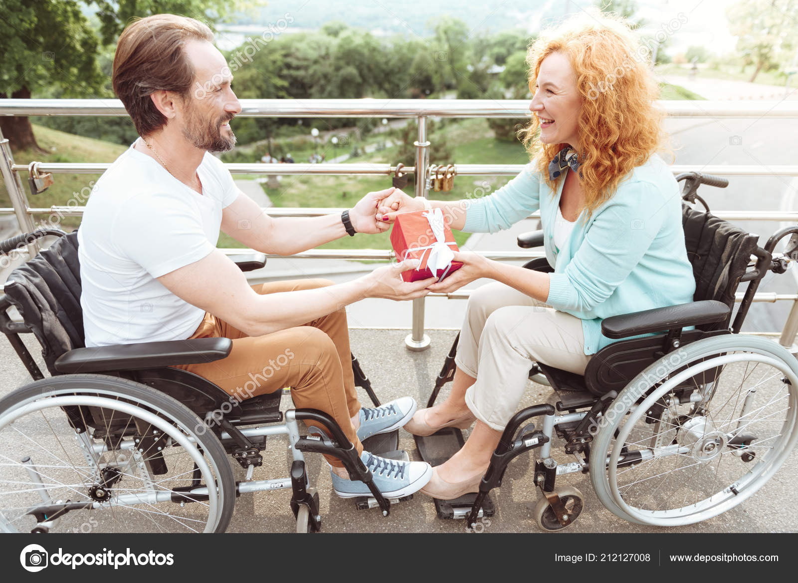 Harmonious Relations Side View Romantic Husband Wife Holding Hands