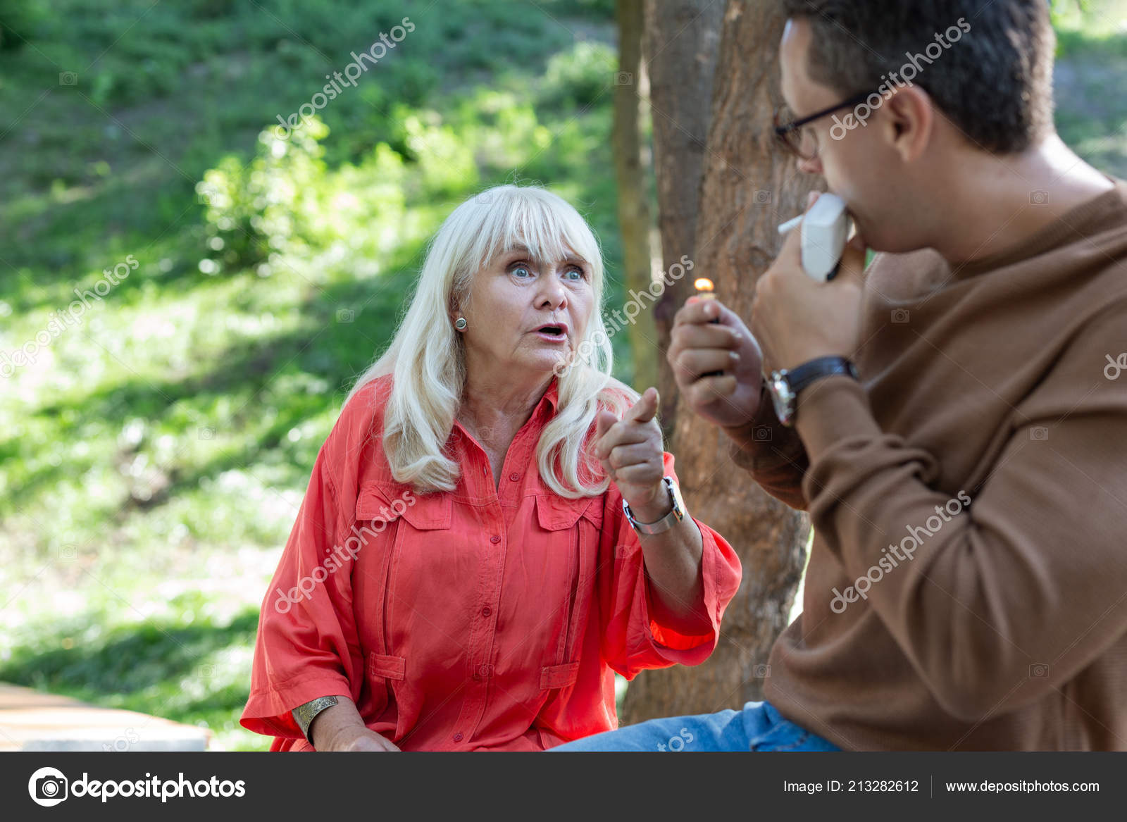 smoking mature blonde