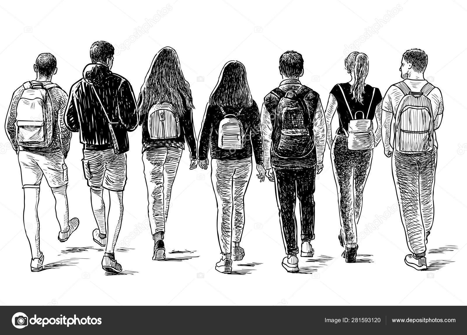 Sketch Group Students Friends Walking Street — Stock Vector