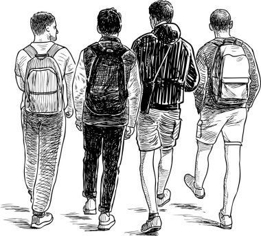 Sketch of the students boys walking down the street