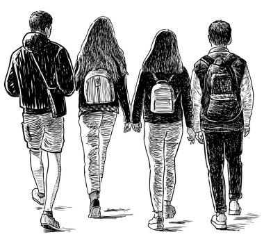 Sketch of the students friends walking down the street