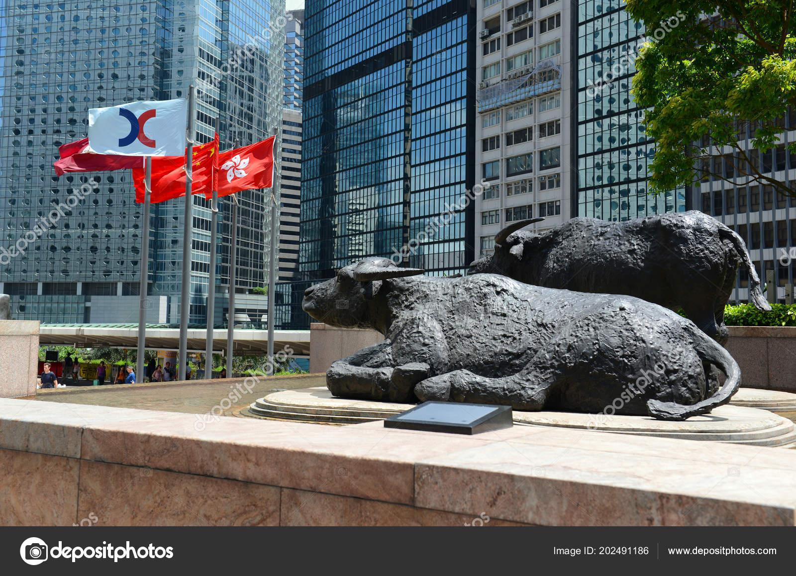 1e5262318c Hong Kong Circa June 2018 Bull Sculptures Flags Flying Exchange ...