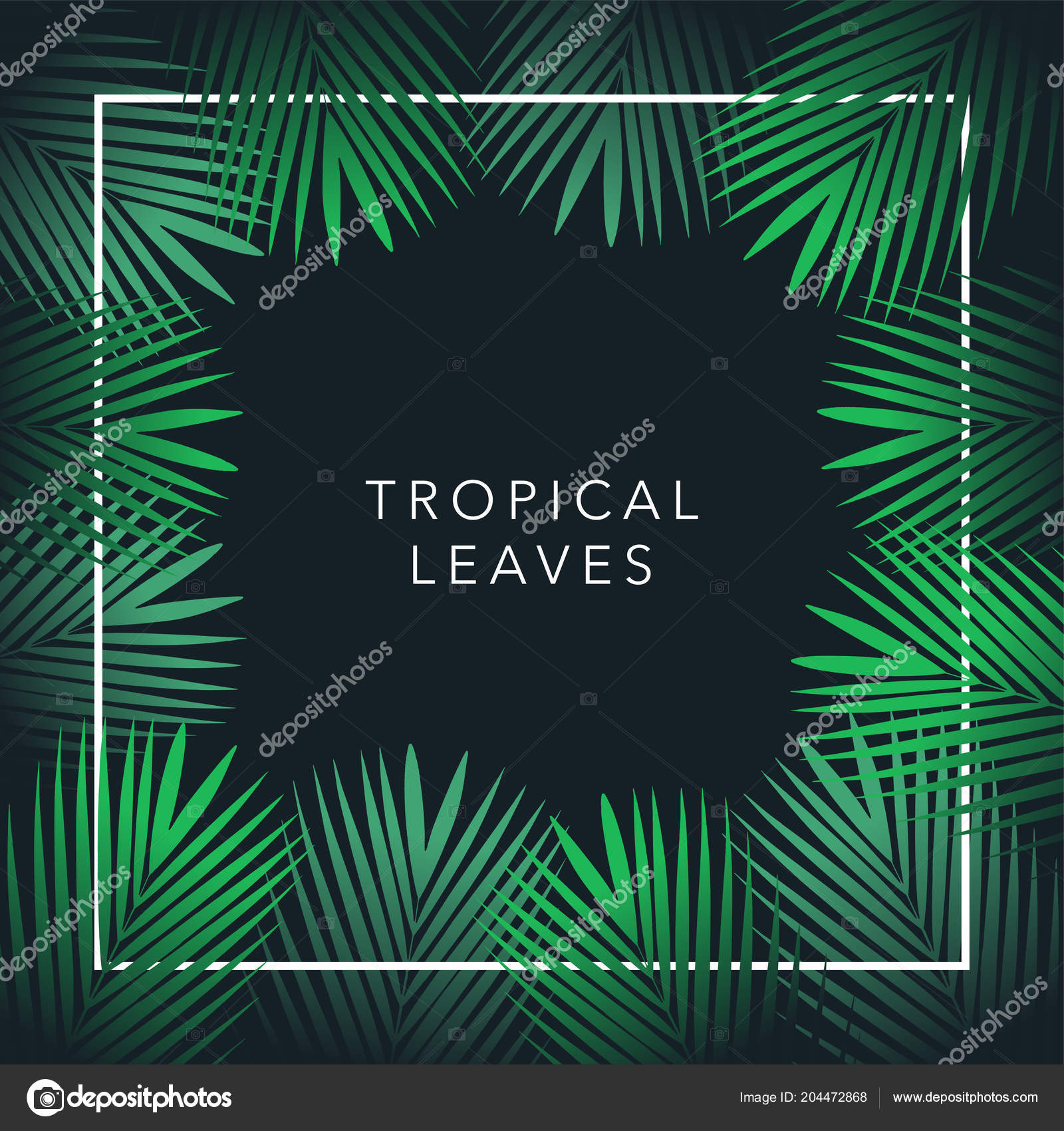 green palm tree vector leaf text black background jungle theme