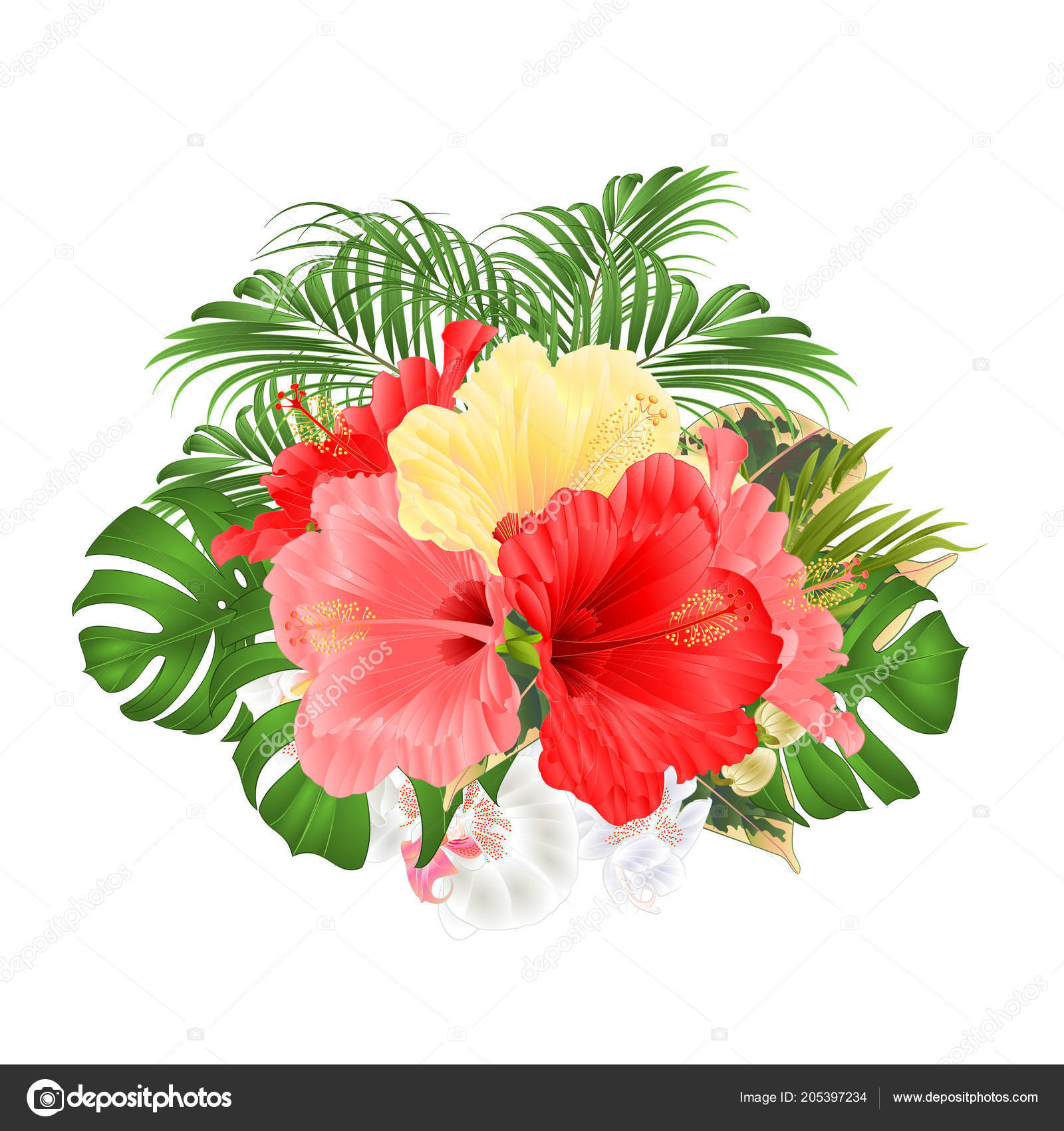 Bouquet Tropical Flowers Floral Arrangement Red Pink Yellow Hibiscus