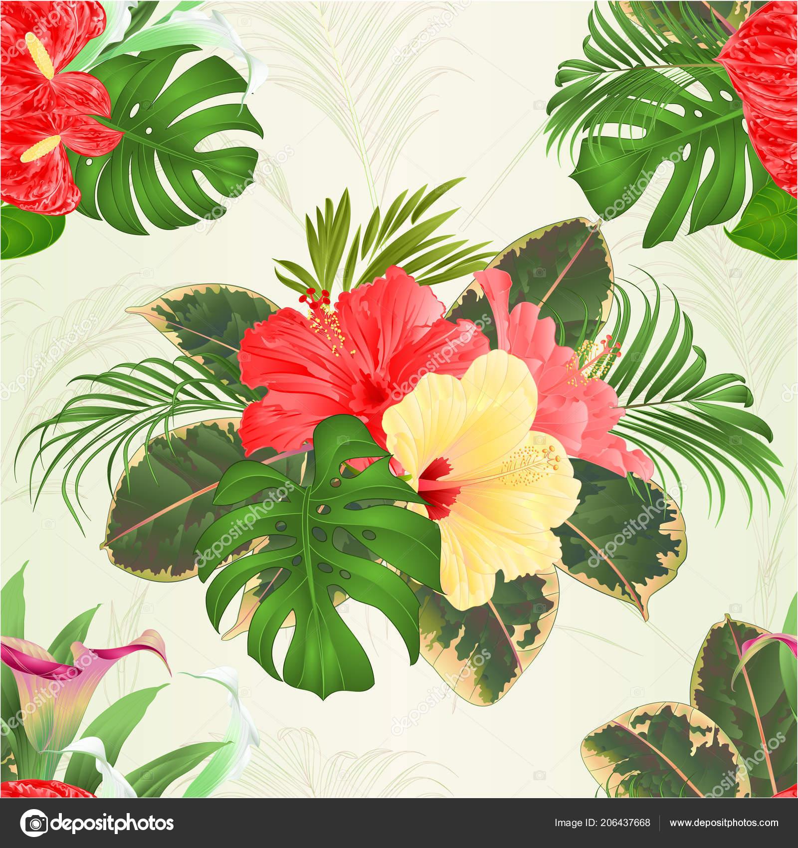 Ramo Textura Transparente Con Tropical Flores Arreglo Floral
