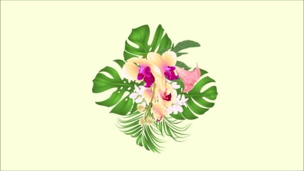 OVA epizódnak varrat nélküli hurok illata trópusi virág virág elrendezése, gyönyörű sárga orchidea, palm, filodendron és Brugmansia évjárat-motion