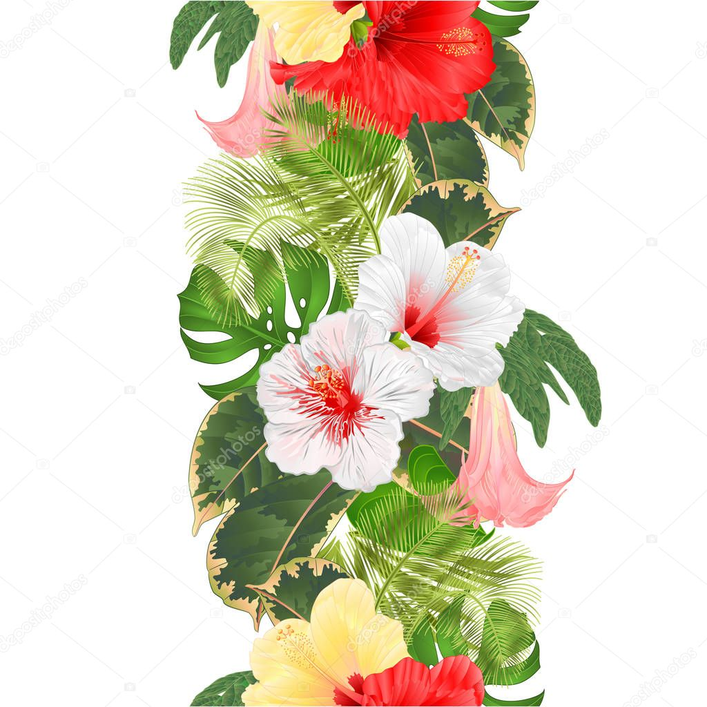 Seamless Border Tropical Flowers Floral Arrangement With White Red Yellow Hibiscus And Brugmansia Palm Philodendron Vintage Vector Illustration Editable Hand Draw Premium Vector In Adobe Illustrator Ai Ai Format Encapsulated