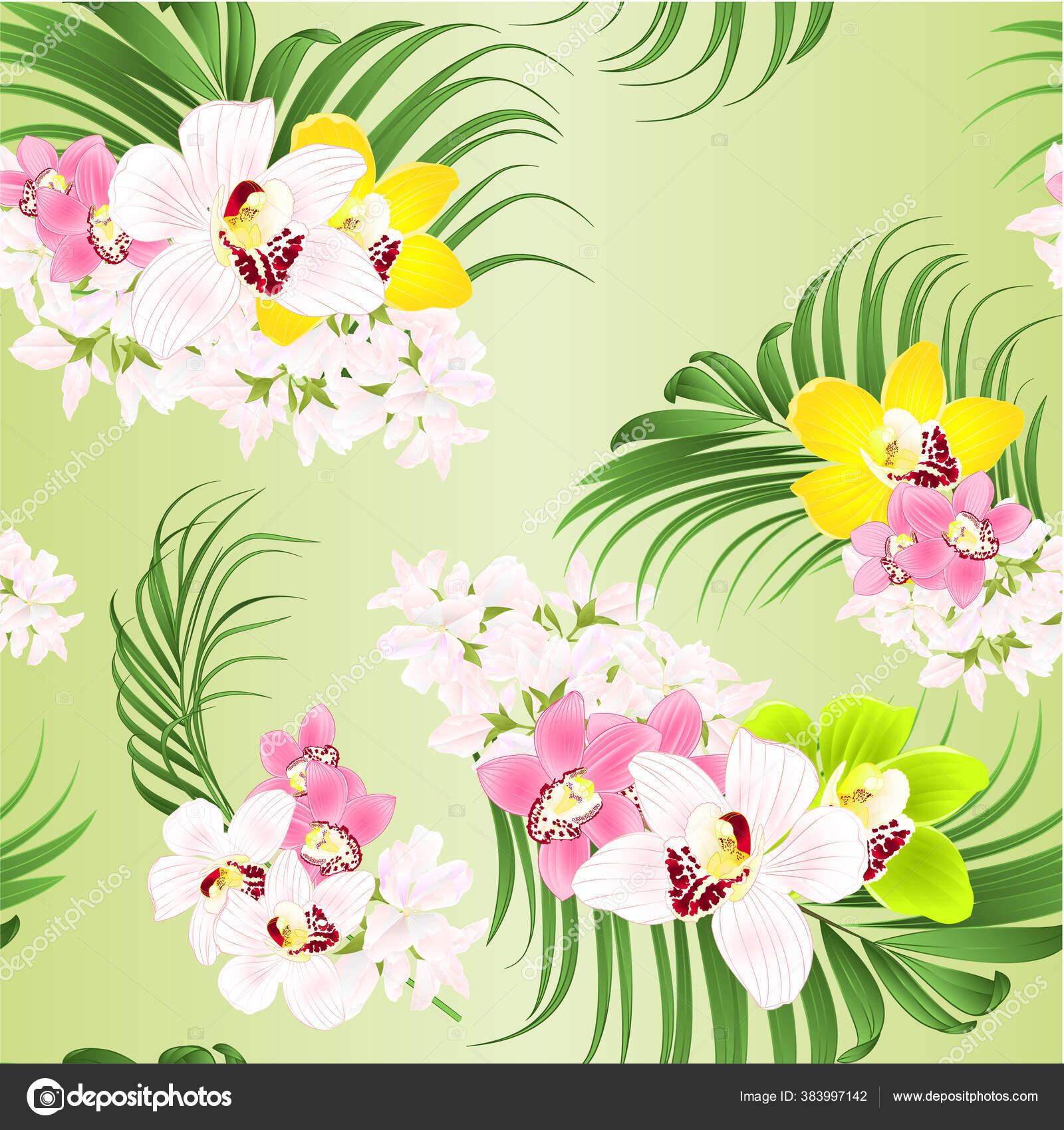Seamless Texture Bouquet Tropical Flowers Floral Arrangement Beautiful Pink Green Stock Vector C Tina5 383997142